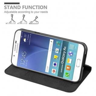 Cadorabo Hülle für Samsung Galaxy A8 2015 in NACHT SCHWARZ - Handyhülle mit Magnetverschluss, Standfunktion und Kartenfach - Case Cover Schutzhülle Etui Tasche Book Klapp Style - Vorschau 4