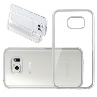 Cadorabo Hülle für Samsung Galaxy S6 EDGE - Hülle in TRANSPARENT mit CHROM SILBER ? Handyhülle aus TPU Silikon im Chrom Design - Silikonhülle Schutzhülle Ultra Slim Soft Back Cover Case Bumper