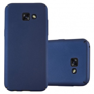 Cadorabo Hülle für Samsung Galaxy A3 2017 in METALL BLAU - Hardcase Handyhülle aus Plastik gegen Kratzer und Stöße - Schutzhülle Bumper Ultra Slim Back Case Hard Cover
