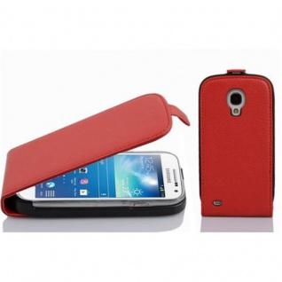 Cadorabo Hülle für Samsung Galaxy S4 MINI - Hülle in INFERNO ROT ? Handyhülle aus strukturiertem Kunstleder im Flip Design - Case Cover Schutzhülle Etui Tasche