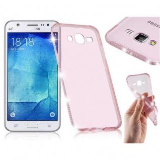 Cadorabo Hülle für Samsung Galaxy J5 - Hülle in TRANSPARENT ROSA - Handyhülle aus TPU Silikon im Strass Design - Silikonhülle Schutzhülle Ultra Slim Soft Back Cover Case Bumper