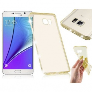 Cadorabo Hülle für Samsung Galaxy NOTE 5 - Hülle in TRANSPARENT GOLD ? Handyhülle aus TPU Silikon im Strass Design - Silikonhülle Schutzhülle Ultra Slim Soft Back Cover Case Bumper