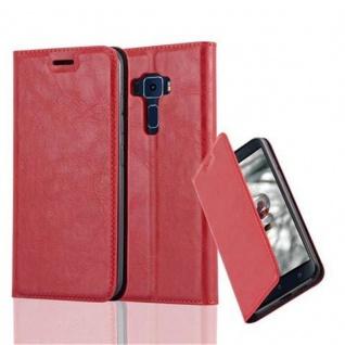 Cadorabo Hülle für Asus ZenFone 3 in APFEL ROT Handyhülle mit Magnetverschluss, Standfunktion und Kartenfach Case Cover Schutzhülle Etui Tasche Book Klapp Style