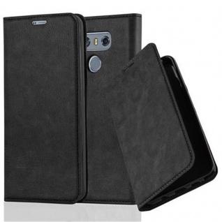 Cadorabo Hülle für LG G6 in NACHT SCHWARZ - Handyhülle mit Magnetverschluss, Standfunktion und Kartenfach - Case Cover Schutzhülle Etui Tasche Book Klapp Style