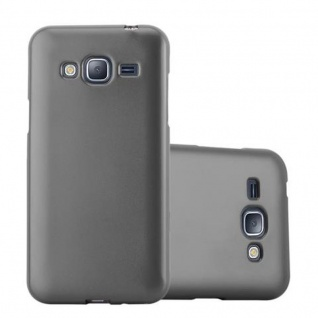 Cadorabo Hülle für Samsung Galaxy J3 / J3 DUOS 2016 in METALLIC GRAU - Handyhülle aus flexiblem TPU Silikon - Silikonhülle Schutzhülle Ultra Slim Soft Back Cover Case Bumper