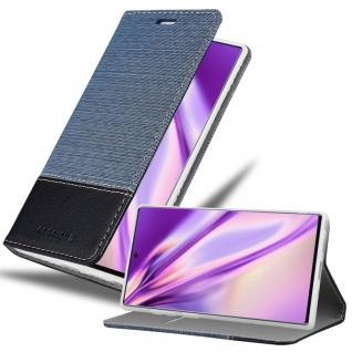 Cadorabo Hülle für Samsung Galaxy NOTE 10 PLUS in DUNKEL BLAU SCHWARZ Handyhülle mit Magnetverschluss, Standfunktion und Kartenfach Case Cover Schutzhülle Etui Tasche Book Klapp Style