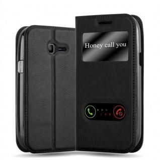 Cadorabo Hülle für Samsung Galaxy TREND LITE in KOMETEN SCHWARZ - Handyhülle mit Magnetverschluss, Standfunktion und 2 Sichtfenstern - Case Cover Schutzhülle Etui Tasche Book Klapp Style