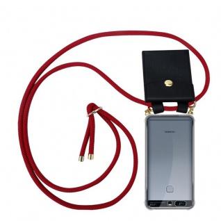 Cadorabo Handy Kette für Huawei P9 PLUS in RUBIN ROT Silikon Necklace Umhänge Hülle mit Gold Ringen, Kordel Band Schnur und abnehmbarem Etui Schutzhülle