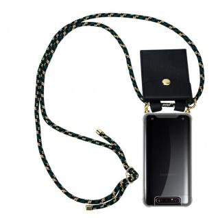 Cadorabo Handy Kette für Samsung Galaxy A80 / A90 in CAMOUFLAGE Silikon Necklace Umhänge Hülle mit Gold Ringen, Kordel Band Schnur und abnehmbarem Etui Schutzhülle