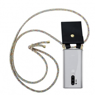 Cadorabo Handy Kette für Oneplus 8 pro in RAINBOW Silikon Necklace Umhänge Hülle mit Gold Ringen, Kordel Band Schnur und abnehmbarem Etui Schutzhülle