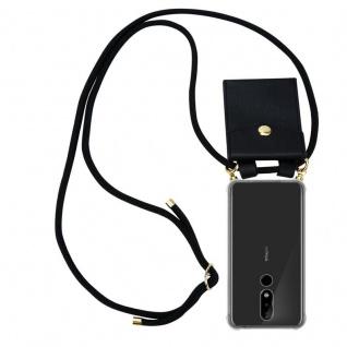 Cadorabo Handy Kette für Nokia 5.1 Plus in SCHWARZ Silikon Necklace Umhänge Hülle mit Gold Ringen, Kordel Band Schnur und abnehmbarem Etui Schutzhülle