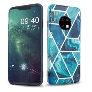 Cadorabo Hülle für Huawei MATE 30 Hülle in Blaue Welle Marmor No.13 Handyhülle aus TPU Silikon mit Muster Mosaik Silikonhülle Schutzhülle Ultra Slim Back Cover Case Bumper