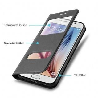 Cadorabo Hülle für Samsung Galaxy S6 in KOMETEN SCHWARZ - Handyhülle mit Magnetverschluss, Standfunktion und 2 Sichtfenstern - Case Cover Schutzhülle Etui Tasche Book Klapp Style - Vorschau 3