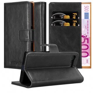Cadorabo Hülle für Sony Xperia X Compact in GRAPHIT SCHWARZ - Handyhülle mit Magnetverschluss, Standfunktion und Kartenfach - Case Cover Schutzhülle Etui Tasche Book Klapp Style