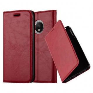 Cadorabo Hülle für Motorola MOTO G5 PLUS in APFEL ROT - Handyhülle mit Magnetverschluss, Standfunktion und Kartenfach - Case Cover Schutzhülle Etui Tasche Book Klapp Style