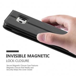 Cadorabo Hülle für Samsung Galaxy S6 EDGE PLUS in KOMETEN SCHWARZ - Handyhülle mit Magnetverschluss, Standfunktion und 2 Sichtfenstern - Case Cover Schutzhülle Etui Tasche Book Klapp Style - Vorschau 5
