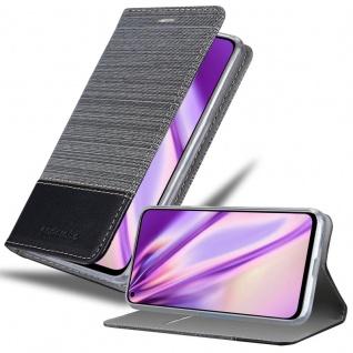 Cadorabo Hülle für Honor View 20 in GRAU SCHWARZ Handyhülle mit Magnetverschluss, Standfunktion und Kartenfach Case Cover Schutzhülle Etui Tasche Book Klapp Style