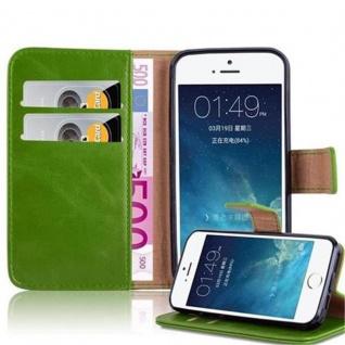 Cadorabo Hülle für Apple iPhone 5 / iPhone 5S / iPhone SE in GRAS GRÜN - Handyhülle mit Magnetverschluss, Standfunktion und Kartenfach - Case Cover Schutzhülle Etui Tasche Book Klapp Style