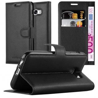 Cadorabo Hülle für Samsung Galaxy A7 2017 in PHANTOM SCHWARZ - Handyhülle mit Magnetverschluss, Standfunktion und Kartenfach - Case Cover Schutzhülle Etui Tasche Book Klapp Style