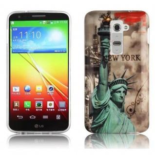 Cadorabo - Hard Cover für LG G2 - Case Cover Schutzhülle Bumper im Design: NEW YORK - FREIHEITSSTATUE