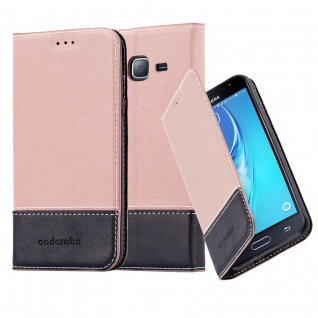 Cadorabo Hülle für Samsung Galaxy J3 / J3 DUOS 2016 in GOLD SCHWARZ - Handyhülle mit Magnetverschluss, Standfunktion und Kartenfach - Case Cover Schutzhülle Etui Tasche Book Klapp Style