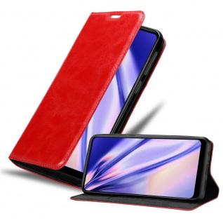 Cadorabo Hülle für Samsung Galaxy A21 in APFEL ROT Handyhülle mit Magnetverschluss, Standfunktion und Kartenfach Case Cover Schutzhülle Etui Tasche Book Klapp Style
