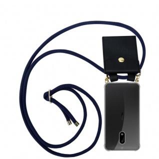 Cadorabo Handy Kette für Nokia 6 2017 in TIEF BLAU - Silikon Necklace Umhänge Hülle mit Gold Ringen, Kordel Band Schnur und abnehmbarem Etui ? Schutzhülle