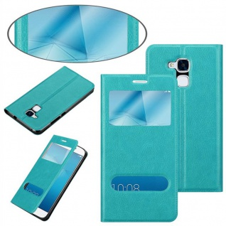 Cadorabo Hülle für Honor 5C in MINT TÜRKIS - Handyhülle mit Magnetverschluss, Standfunktion und 2 Sichtfenstern - Case Cover Schutzhülle Etui Tasche Book Klapp Style - Vorschau 3