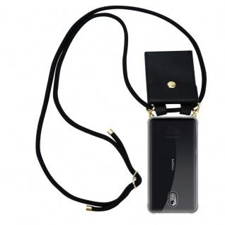 Cadorabo Handy Kette für Nokia 3.1 2018 in SCHWARZ Silikon Necklace Umhänge Hülle mit Gold Ringen, Kordel Band Schnur und abnehmbarem Etui Schutzhülle