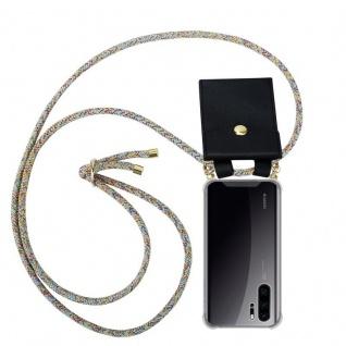 Cadorabo Handy Kette für Huawei P30 PRO in RAINBOW - Silikon Necklace Umhänge Hülle mit Gold Ringen, Kordel Band Schnur und abnehmbarem Etui ? Schutzhülle