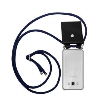 Cadorabo Handy Kette für Samsung Galaxy J7 2016 in TIEF BLAU Silikon Necklace Umhänge Hülle mit Silber Ringen, Kordel Band Schnur und abnehmbarem Etui Schutzhülle