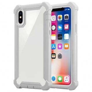 Cadorabo Hülle für Apple iPhone XS MAX in BIRKEN GRAU 2-in-1 Handyhülle mit TPU Silikon-Rand und Acryl-Glas-Rücken Schutzhülle Hybrid Hardcase Back Case