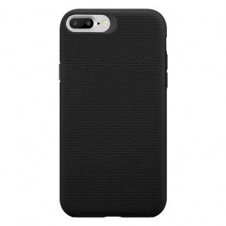 Cadorabo Hülle für Apple iPhone 6 PLUS / 7 PLUS / 8 PLUS in DAHLIEN SCHWARZ ? Outdoor Handyhülle mit extra Grip Anti Rutsch Oberfläche im Triangle Design aus Silikon und Kunststoff - Schutzhülle Hybrid Hardcase Back Case - Vorschau 3