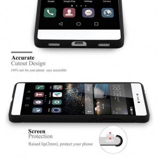 Cadorabo Hülle für Huawei P8 - Hülle in BRUSHED SCHWARZ - Handyhülle aus TPU Silikon in Edelstahl-Karbonfaser Optik - Silikonhülle Schutzhülle Ultra Slim Soft Back Cover Case Bumper - Vorschau 2