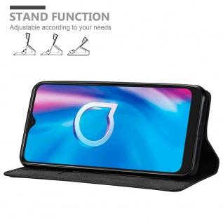 Cadorabo Hülle für Alcatel 1s 2020 in NACHT SCHWARZ Handyhülle mit Magnetverschluss, Standfunktion und Kartenfach Case Cover Schutzhülle Etui Tasche Book Klapp Style
