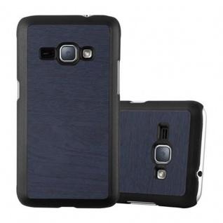 Cadorabo Hülle für Samsung Galaxy J1 2016 in WOODY BLAU ? Hardcase Handyhülle aus Plastik gegen Kratzer und Stöße ? Schutzhülle Bumper Ultra Slim Back Case Hard Cover