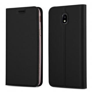 Cadorabo Hülle für Samsung Galaxy J3 2017 in CLASSY SCHWARZ - Handyhülle mit Magnetverschluss, Standfunktion und Kartenfach - Case Cover Schutzhülle Etui Tasche Book Klapp Style
