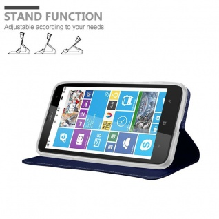 Cadorabo Hülle für Nokia Lumia 1320 in CLASSY DUNKEL BLAU - Handyhülle mit Magnetverschluss, Standfunktion und Kartenfach - Case Cover Schutzhülle Etui Tasche Book Klapp Style - Vorschau 4