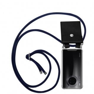 Cadorabo Handy Kette für Huawei MATE 30 in TIEF BLAU Silikon Necklace Umhänge Hülle mit Silber Ringen, Kordel Band Schnur und abnehmbarem Etui Schutzhülle