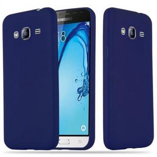 Cadorabo Hülle für Samsung Galaxy J3 2015 in CANDY DUNKEL BLAU - Handyhülle aus flexiblem TPU Silikon - Silikonhülle Schutzhülle Ultra Slim Soft Back Cover Case Bumper