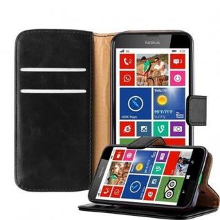 Cadorabo Hülle für Nokia Lumia 630 in GRAPHIT SCHWARZ ? Handyhülle mit Magnetverschluss, Standfunktion und Kartenfach ? Case Cover Schutzhülle Etui Tasche Book Klapp Style