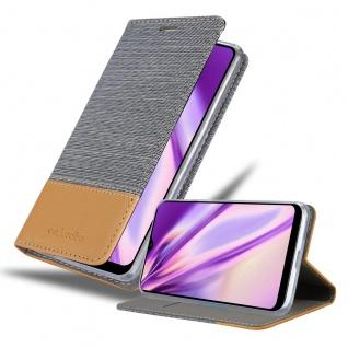 Cadorabo Hülle kompatibel mit Samsung Galaxy A20S in HELL GRAU BRAUN Handyhülle mit Magnetverschluss, Standfunktion und Kartenfach Case Cover Schutzhülle Etui Tasche Book Klapp Style