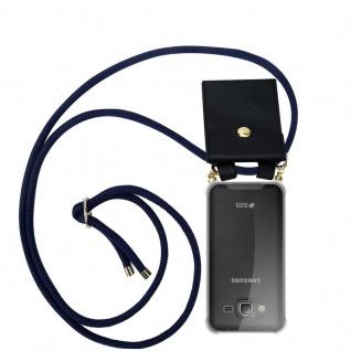 Cadorabo Handy Kette für Samsung Galaxy J3 / J3 DUOS 2016 in TIEF BLAU - Silikon Necklace Umhänge Hülle mit Gold Ringen, Kordel Band Schnur und abnehmbarem Etui ? Schutzhülle