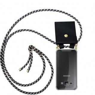 Cadorabo Handy Kette für Samsung Galaxy J1 2015 in DUNKELBLAU GELB - Silikon Necklace Umhänge Hülle mit Gold Ringen, Kordel Band Schnur und abnehmbarem Etui ? Schutzhülle