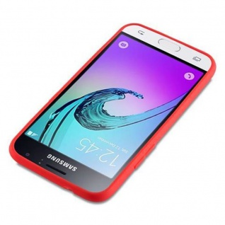 Cadorabo Hülle für Samsung Galaxy J1 2016 in CANDY ROT - Handyhülle aus flexiblem TPU Silikon - Silikonhülle Schutzhülle Ultra Slim Soft Back Cover Case Bumper - Vorschau 3