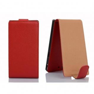 Cadorabo Hülle für Sony Xperia Z in INFERNO ROT - Handyhülle im Flip Design aus strukturiertem Kunstleder - Case Cover Schutzhülle Etui Tasche Book Klapp Style - Vorschau 2