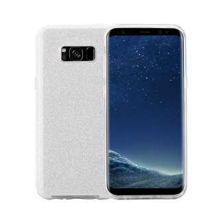 Cadorabo Hülle für Samsung Galaxy S8 - Hülle in STERNENSTAUB SILBER - TPU Silikon und Hardcase Handyhülle im Glitzer Design - Hard Case TPU Silikon Schutzhülle