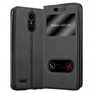 Cadorabo Hülle für LG K10 2017 in KOMETEN SCHWARZ - Handyhülle mit Magnetverschluss, Standfunktion und 2 Sichtfenstern - Case Cover Schutzhülle Etui Tasche Book Klapp Style