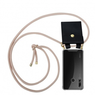 Cadorabo Handy Kette für Huawei P SMART PLUS 2019 in PERLIG ROSÉGOLD Silikon Necklace Umhänge Hülle mit Gold Ringen, Kordel Band Schnur und abnehmbarem Etui Schutzhülle