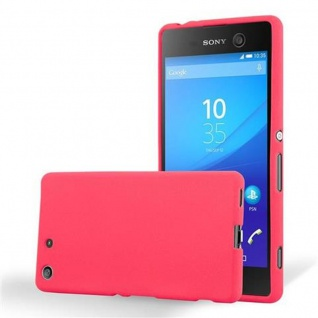 Cadorabo Hülle für Sony Xperia M5 - Hülle in FROST ROT ? Handyhülle aus TPU Silikon im matten Frosted Design - Ultra Slim Soft Backcover Case Bumper